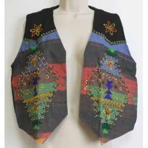 HG NY Vest Woman Sz Med SouthWest SW Canvas Beaded